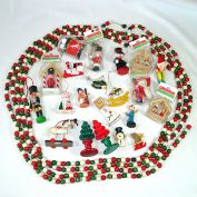 22 Mid Century Painted Wood Christmas Ornaments