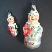 2 German Glass Clown Christmas Ornaments