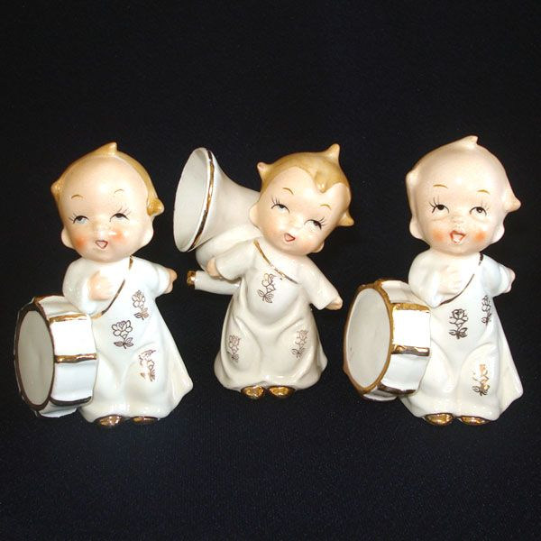 Set 3 Ceramic Musical Cherub Angel Figurines 1950s Japan