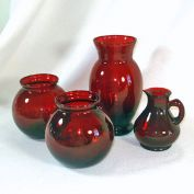 Anchor Hocking Royal Ruby 3 Glass Vases Plus Ruby Cruet