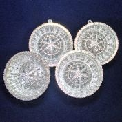 1960s Silver Filigree Indent Dome Plastic Christmas Ornaments