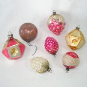 Antique Japan Small Feather Tree Glass Christmas Ornaments