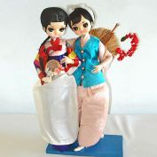 Pair Bradley Big Eyed Oriental Asian Girl Boudoir Dolls