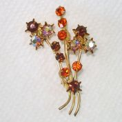 Austrian Fall Colors Rhinestone Flowering Branch Brooch Pin