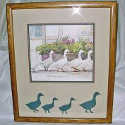 Dawna Barton 1983 Framed Geese Print Dinner Call