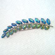 B David Rhinestone Blue Feather Leaf Stem Brooch Pin