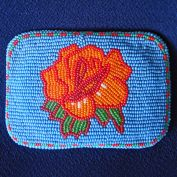 Native American Shoshone Rose Beaded Indian Belt Buckle