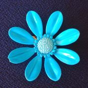 Turquoise Daisy Flower Power Enameled Brooch Pin