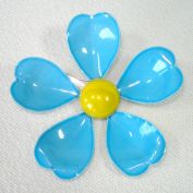 Blue Yellow Enameled Metal Flower Pin Brooch