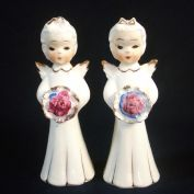 Pair 1950s Japan Angel Figurines Holding Bouquets or Nosegays