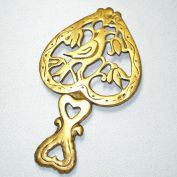 Bird In Heart Pennsylvania Dutch Cast Brass Trivet