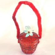 Germany Wire Wrapped Flower Basket Christmas Ornament