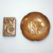 Copper Hand Wrought Ashtray Match Holder Smoking Set