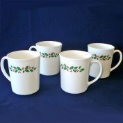 Corelle Corning Ware 4 Winter Holly Christmas Coffee Mugs