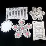 6 Vintage Hand Crocheted Doilies