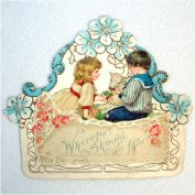 Antique Embossed Easter Card Children Lamb Flowers