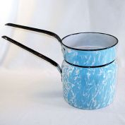 Blue Swirl Antique Graniteware Enamel Double Boiler