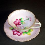 Pink Hibiscus Flower Hand Painted Porcelain Tea Cup and Saucer