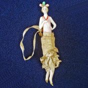 Miniature German Art Deco Flapper Half Doll With Legs
