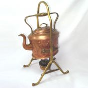 Antique German Jugendstil Copper Spirit Kettle