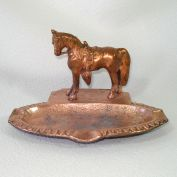Copper Plated Cast Metal Horse Ashtray