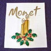 Monet Christmas Candles Rhinestones Brooch Pin on Card