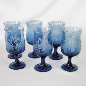 Pfaltzgraff Folk Art Blue Glass Wine Goblets Set of 6