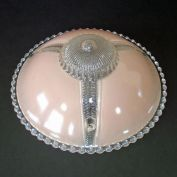 Pink Reverse Painted 3 Chain Glass Ceiling Shade