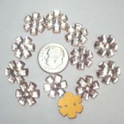12 Pink Czech Glass Flower Buttons or Sew-On Jewels