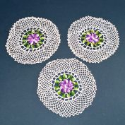 3 Crocheted Purple Pansy Flower Vintage Doilies