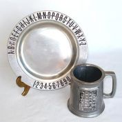 Child's Pewter ABC Plate and Mug