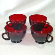 Royal Ruby Anchor Hocking 4 Punch Tea Cups