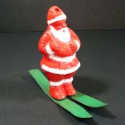 Irwin Santa on Metal Skis Candy Container Christmas Ornament
