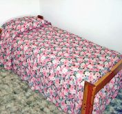 1960s Unused Blue Pink Floral Seersucker Twin Bedspread