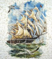 Sailing Ship Mural Tile Backsplash Insert