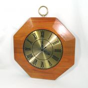 United Mid Century Wood Brass Octagonal Wall Clock