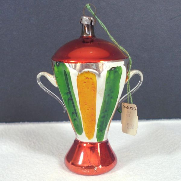 German Free Blown Glass Urn Trophy Vase Christmas Ornament