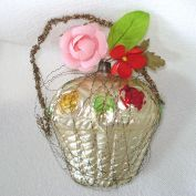 Fancy Flower Basket West German Christmas Ornament