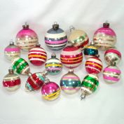 18 Colorful Stripes USA Glass Christmas Ornaments