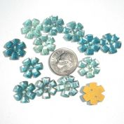 13 Blue Czech Glass Flower Buttons or Sew-On Jewels