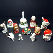 12 Ceramic Christmas Ornaments, Bells, Figures - Dogs, Angels, More
