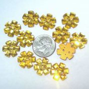 12 Gold Czech Glass Flower Buttons or Sew-On Jewels